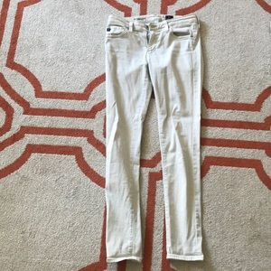 AG Cream Colored Super Skinny Ankle Jeans